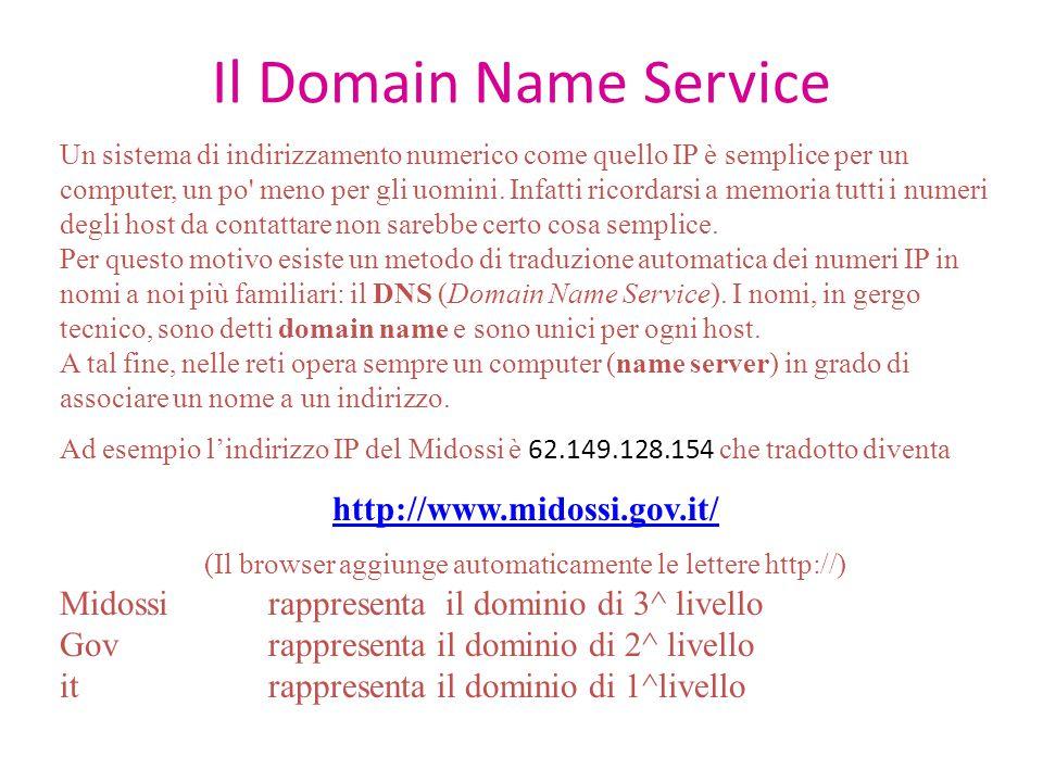 Il Domain Name Service Un sistema di indirizzamento numerico come quello IP è semplice per un computer, un po' meno per gli uomini. Infatti ricordarsi