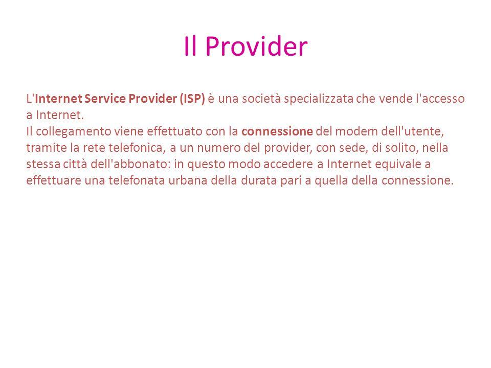 Il Provider L Internet Service Provider (ISP) è una società specializzata che vende l accesso a Internet.