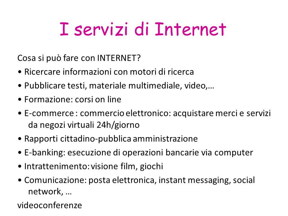 I servizi di Internet Cosa si può fare con INTERNET? Ricercare informazioni con motori di ricerca Pubblicare testi, materiale multimediale, video,… Fo