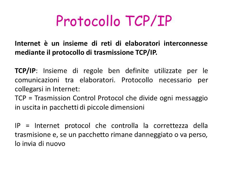 Protocollo TCP/IP Internet è un insieme di reti di elaboratori interconnesse mediante il protocollo di trasmissione TCP/IP. TCP/IP: Insieme di regole