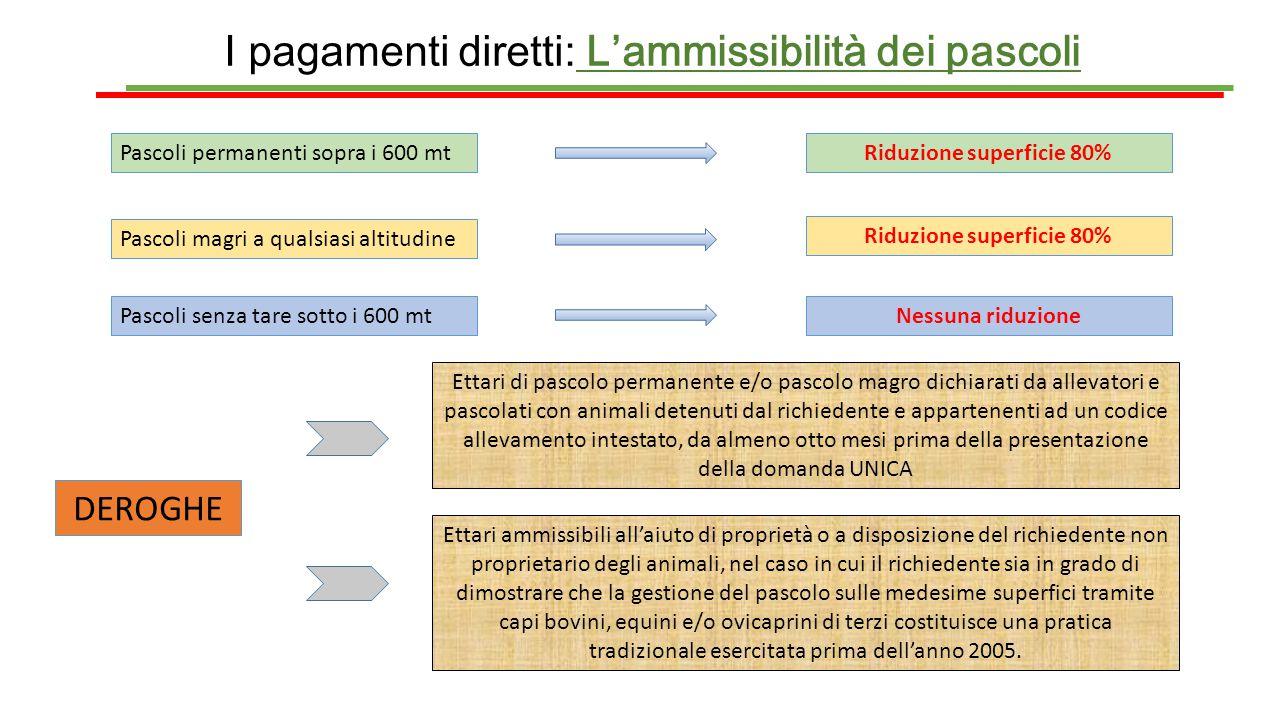 I pagamenti diretti: L'ammissibilità dei pascoli Pascoli permanenti sopra i 600 mtRiduzione superficie 80% Pascoli magri a qualsiasi altitudine Riduzi