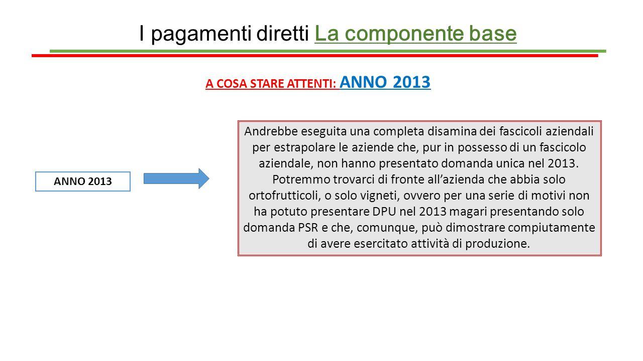 I pagamenti diretti La componente base A COSA STARE ATTENTI: ANNO 2013 ANNO 2013 Andrebbe eseguita una completa disamina dei fascicoli aziendali per e