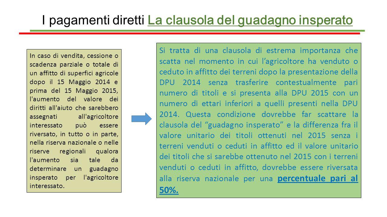 I pagamenti diretti La clausola del guadagno insperato In caso di vendita, cessione o scadenza parziale o totale di un affitto di superfici agricole d