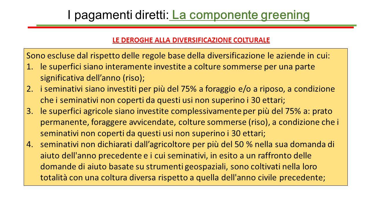 I pagamenti diretti: La componente greening LE DEROGHE ALLA DIVERSIFICAZIONE COLTURALE Sono escluse dal rispetto delle regole base della diversificazi