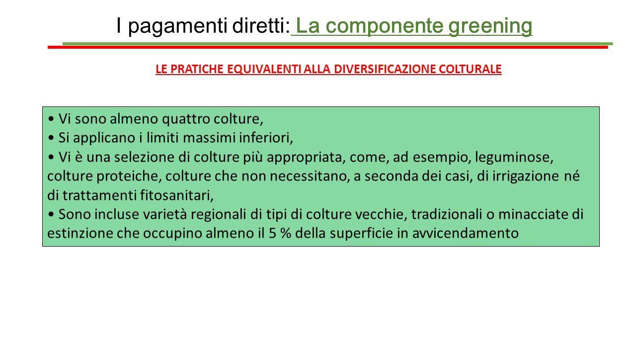 I pagamenti diretti: La componente greening LE PRATICHE EQUIVALENTI ALLA DIVERSIFICAZIONE COLTURALE Vi sono almeno quattro colture, Si applicano i lim