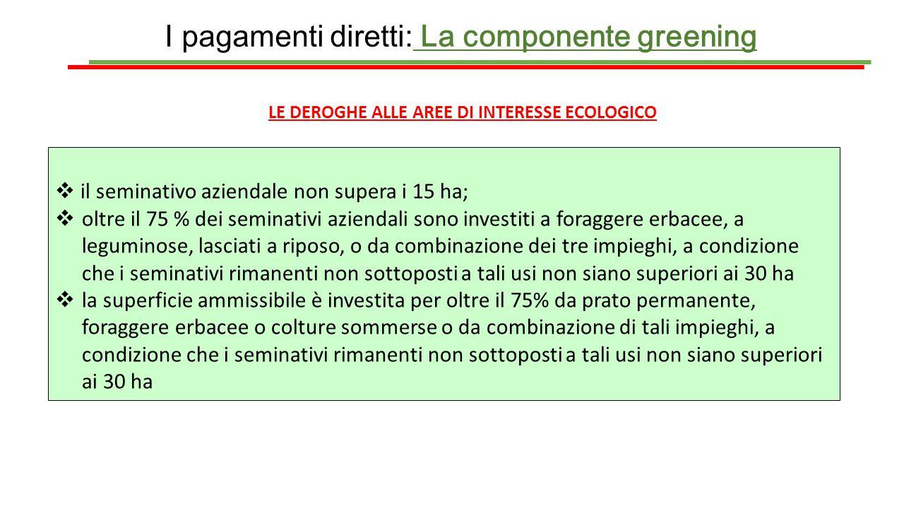 I pagamenti diretti: La componente greening LE DEROGHE ALLE AREE DI INTERESSE ECOLOGICO  il seminativo aziendale non supera i 15 ha;  oltre il 75 %