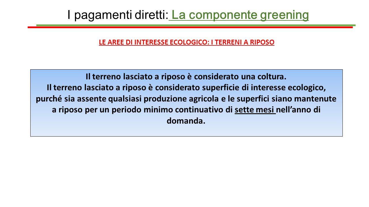 I pagamenti diretti: La componente greening LE AREE DI INTERESSE ECOLOGICO: I TERRENI A RIPOSO Il terreno lasciato a riposo è considerato una coltura.