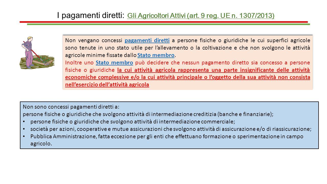 I pagamenti diretti: Gli Agricoltori Attivi (art. 9 reg. UE n. 1307/2013) Non vengano concessi pagamenti diretti a persone fisiche o giuridiche le cui