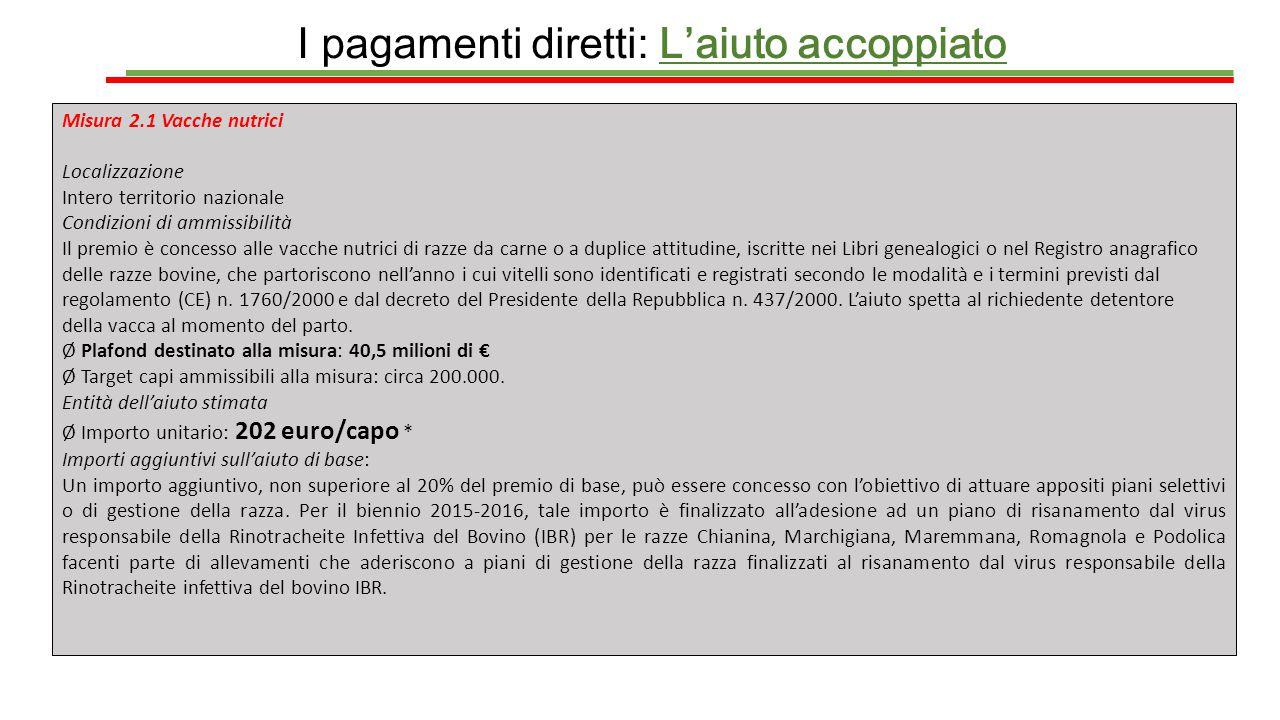 I pagamenti diretti: L'aiuto accoppiato Misura 2.1 Vacche nutrici Localizzazione Intero territorio nazionale Condizioni di ammissibilità Il premio è c