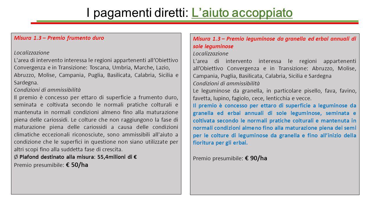 I pagamenti diretti: L'aiuto accoppiato Misura 1.3 – Premio frumento duro Localizzazione L'area di intervento interessa le regioni appartenenti all'Ob
