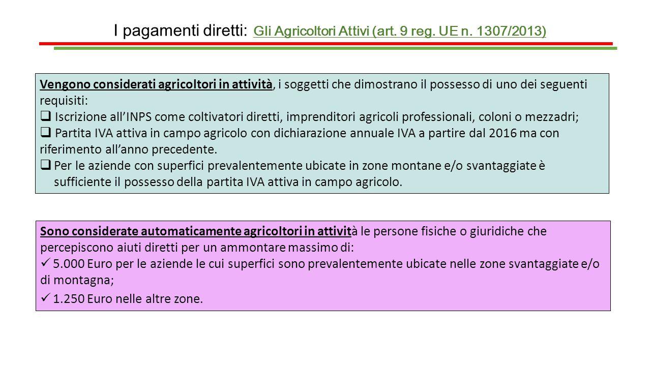 I pagamenti diretti: Gli Agricoltori Attivi (art. 9 reg. UE n. 1307/2013) Vengono considerati agricoltori in attività, i soggetti che dimostrano il po