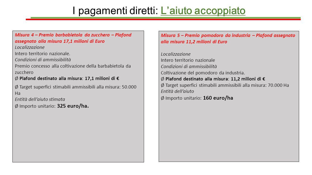 I pagamenti diretti: L'aiuto accoppiato Misura 4 – Premio barbabietola da zucchero – Plafond assegnato alla misura 17,1 milioni di Euro Localizzazione