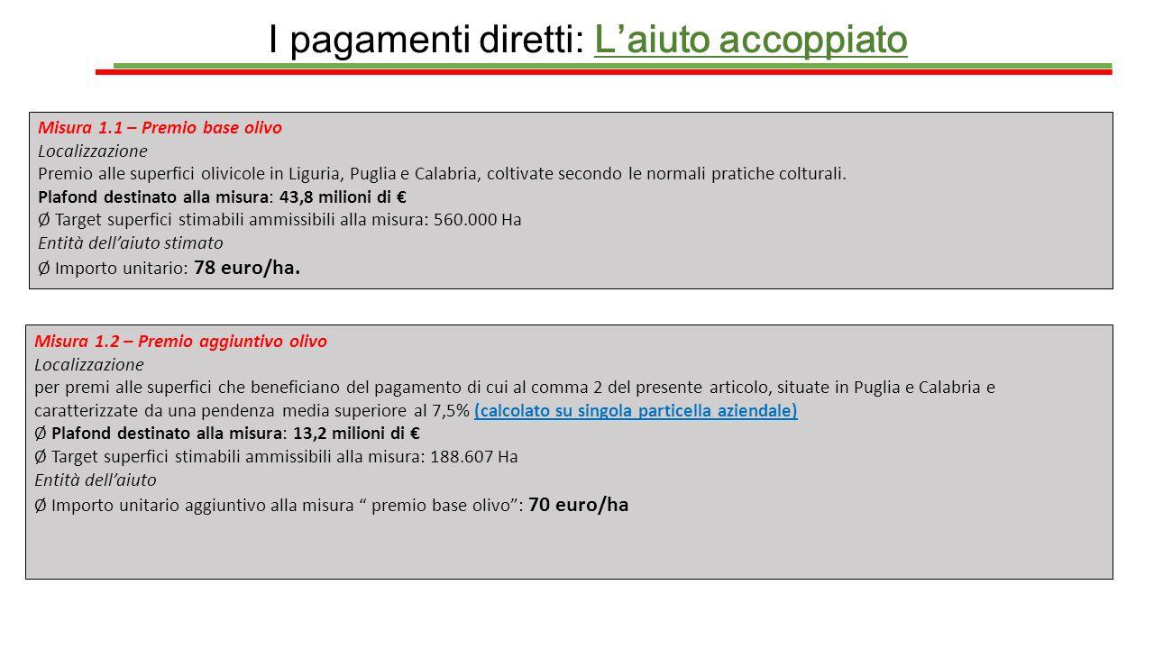 I pagamenti diretti: L'aiuto accoppiato Misura 1.1 – Premio base olivo Localizzazione Premio alle superfici olivicole in Liguria, Puglia e Calabria, c