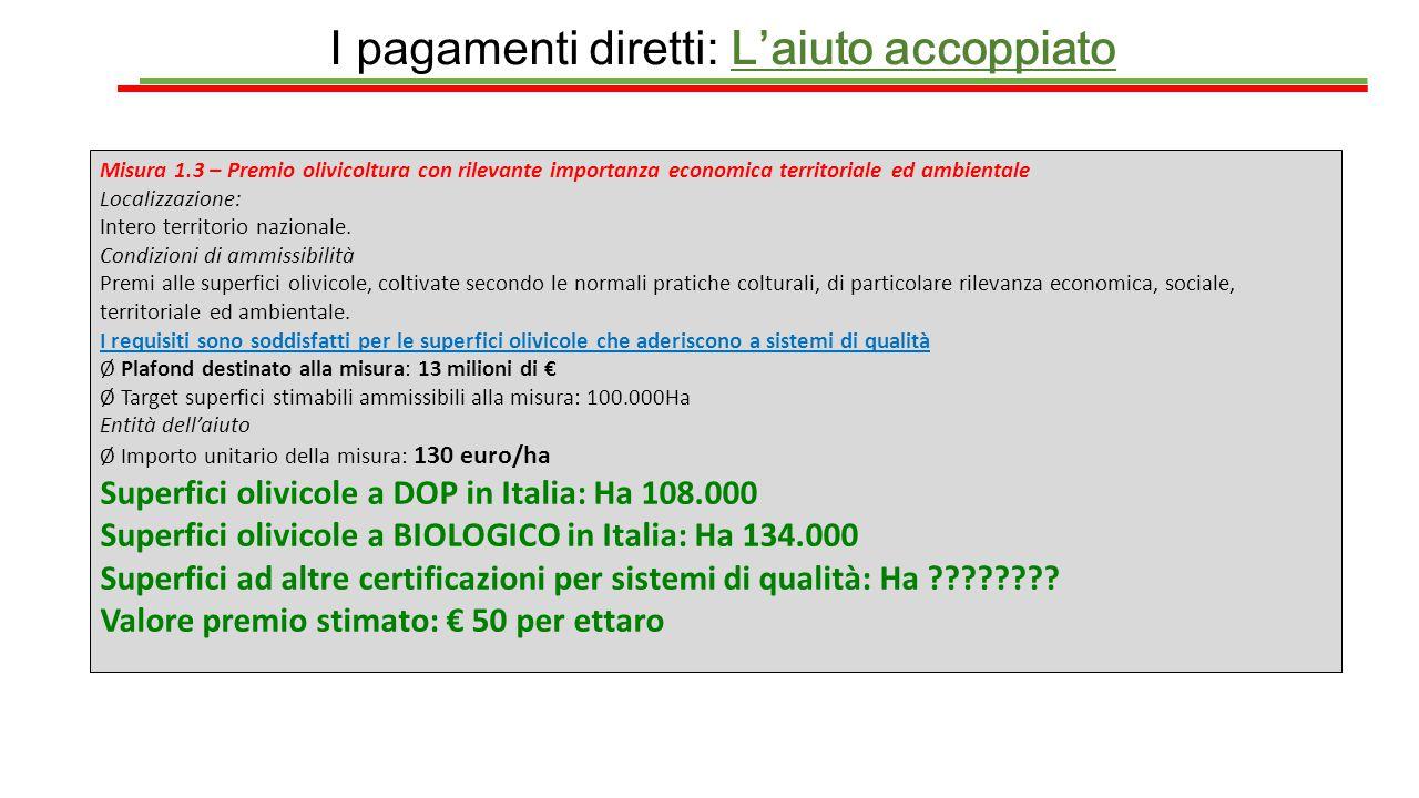 I pagamenti diretti: L'aiuto accoppiato Misura 1.3 – Premio olivicoltura con rilevante importanza economica territoriale ed ambientale Localizzazione: