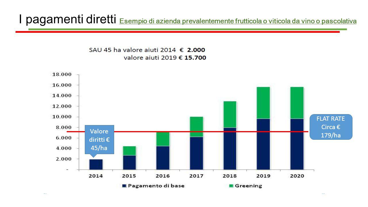 I pagamenti diretti Esempio di azienda prevalentemente frutticola o viticola da vino o pascolativa Valore diritti € 45/ha FLAT RATE Circa € 179/ha