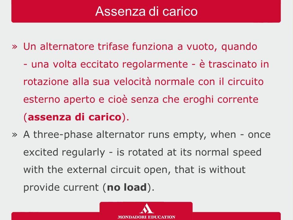 »Un alternatore trifase funziona a vuoto, quando - una volta eccitato regolarmente - è trascinato in rotazione alla sua velocità normale con il circuito esterno aperto e cioè senza che eroghi corrente (assenza di carico).