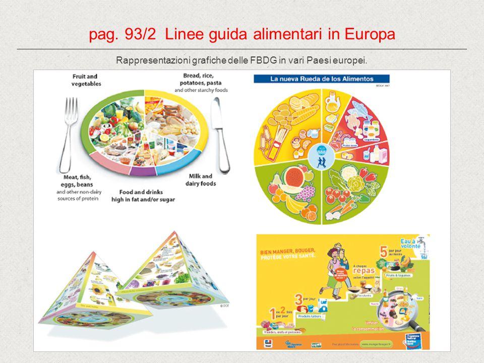 pag. 93/2 Linee guida alimentari in Europa Rappresentazioni grafiche delle FBDG in vari Paesi europei.
