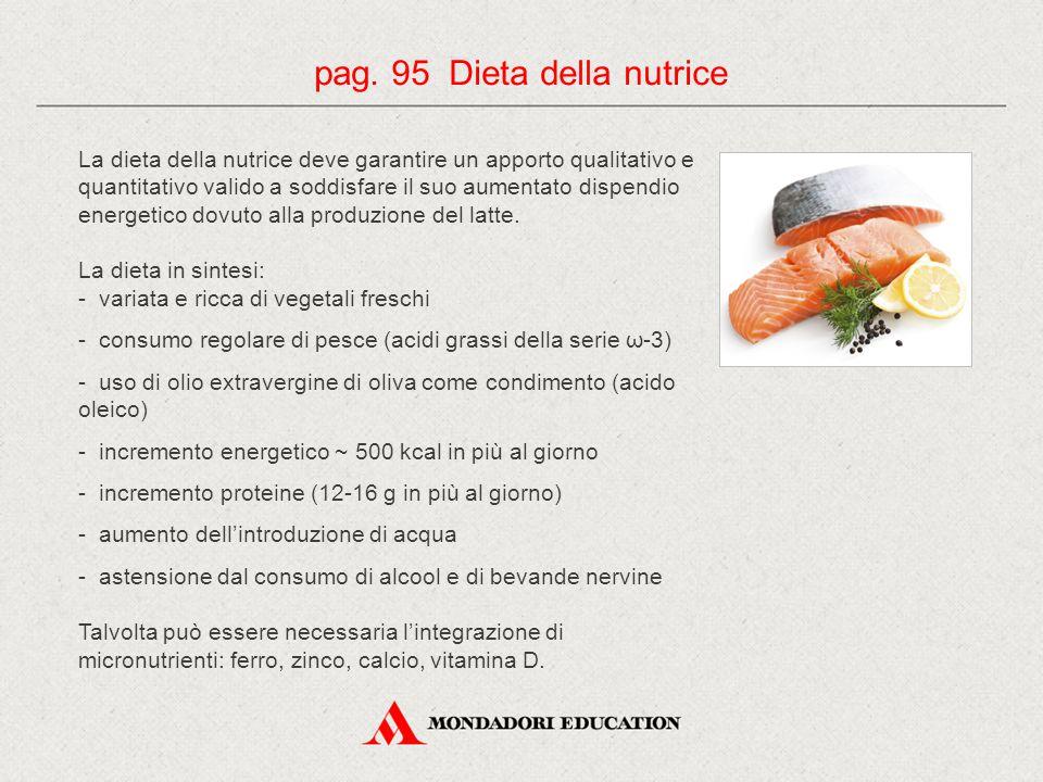 La dieta della nutrice deve garantire un apporto qualitativo e quantitativo valido a soddisfare il suo aumentato dispendio energetico dovuto alla prod