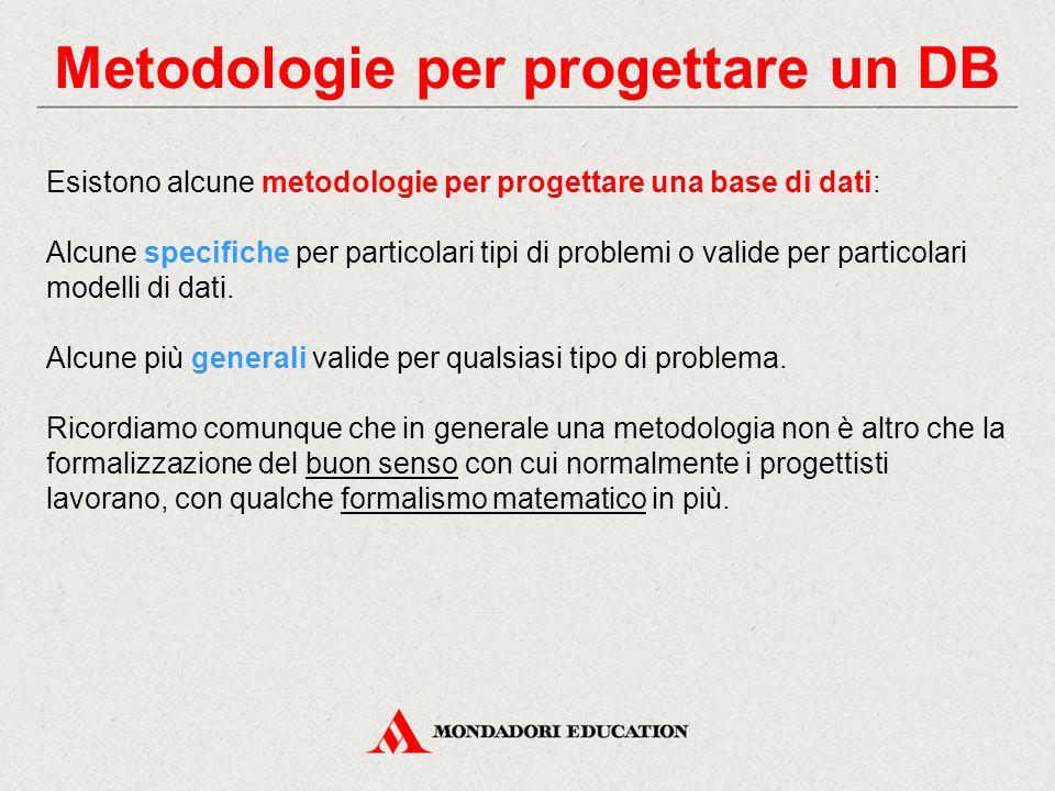 Metodologie per progettare un DB Esistono alcune metodologie per progettare una base di dati: Alcune specifiche per particolari tipi di problemi o val
