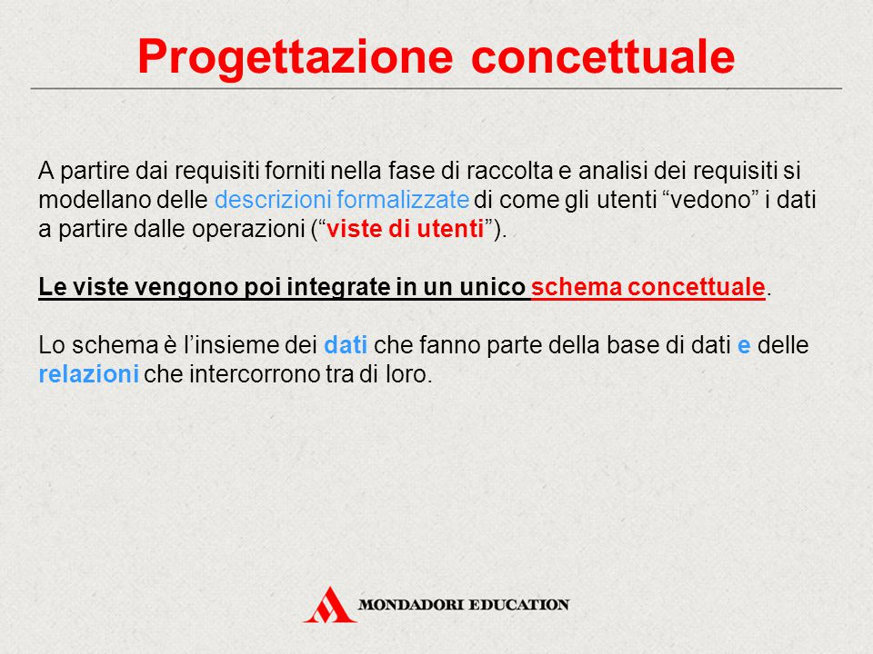 Progettazione logica Lo schema concettuale viene trasformato in uno schema logico.