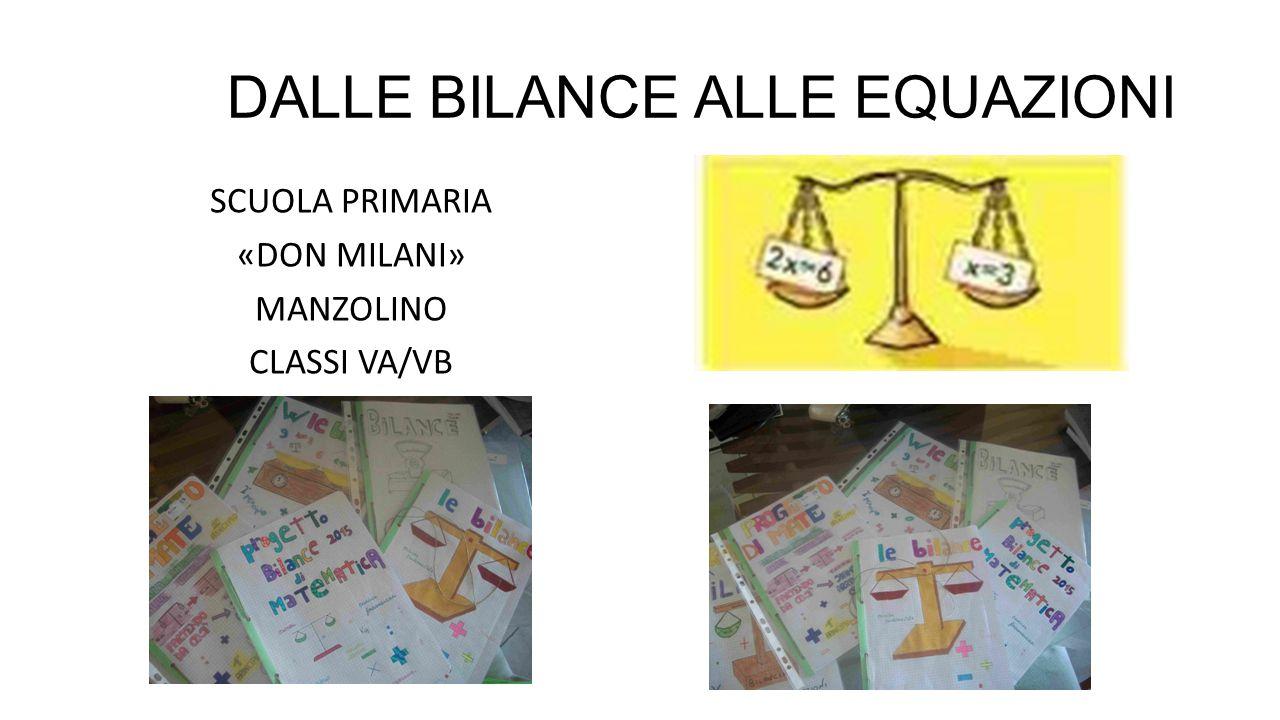 DALLE BILANCE ALLE EQUAZIONI SCUOLA PRIMARIA «DON MILANI» MANZOLINO CLASSI VA/VB