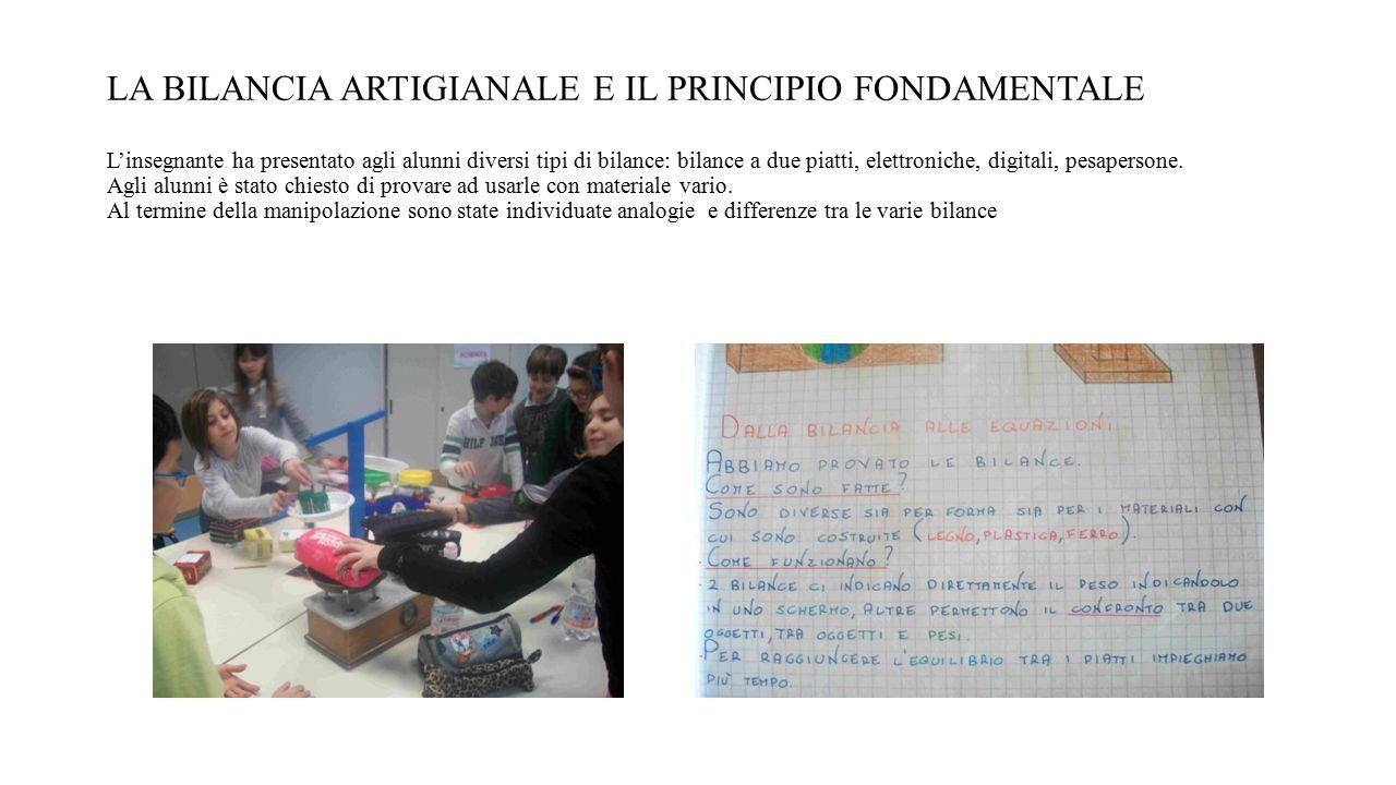 LA BILANCIA ARTIGIANALE E IL PRINCIPIO FONDAMENTALE L'insegnante ha presentato agli alunni diversi tipi di bilance: bilance a due piatti, elettroniche