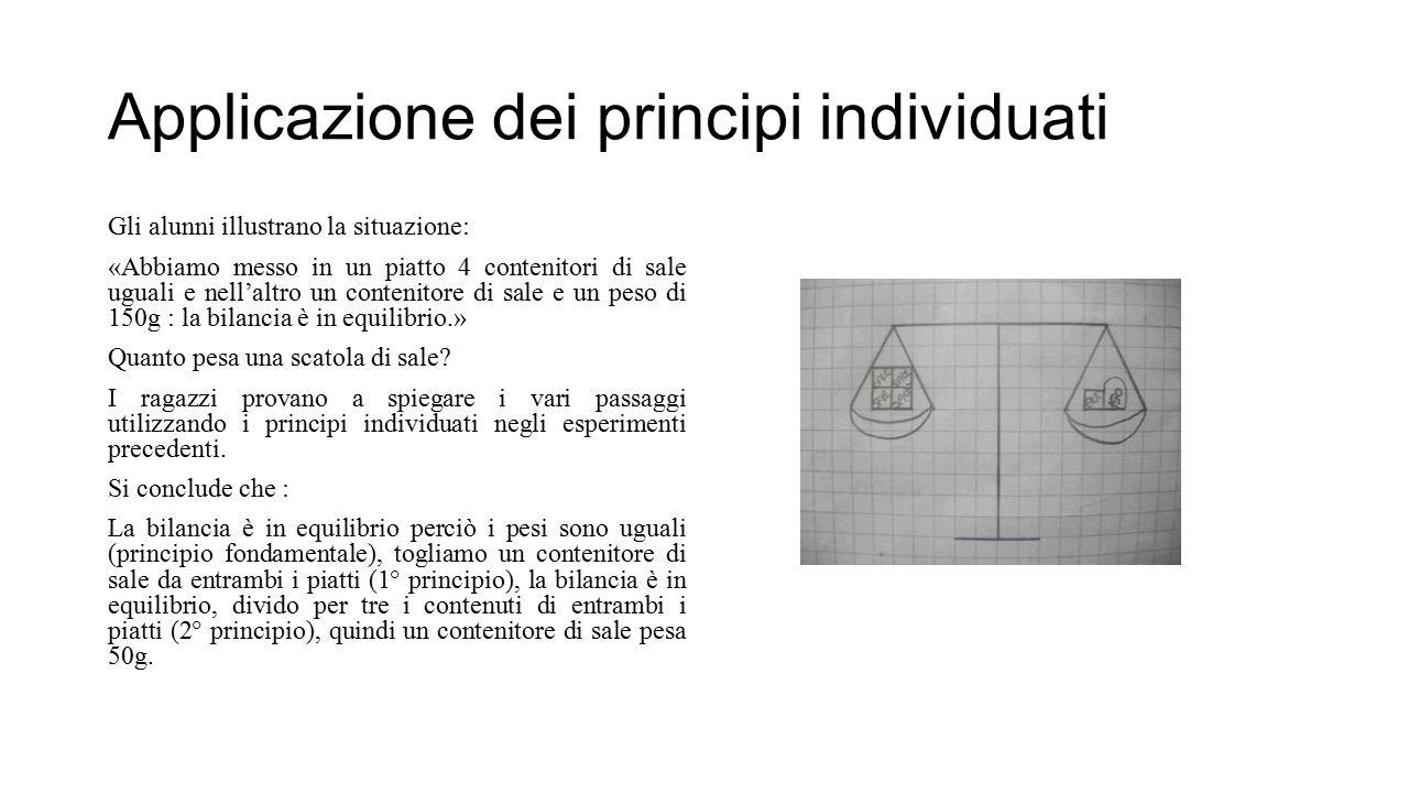 Applicazione dei principi individuati Gli alunni illustrano la situazione: «Abbiamo messo in un piatto 4 contenitori di sale uguali e nell'altro un co