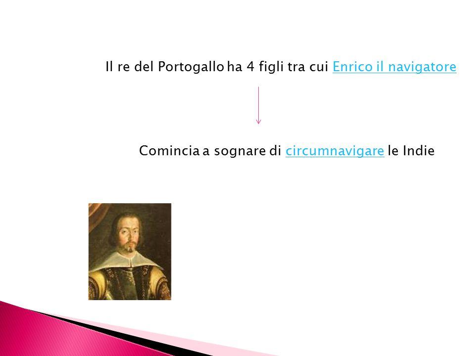 Il re del Portogallo ha 4 figli tra cui Enrico il navigatoreEnrico il navigatore Comincia a sognare di circumnavigare le Indiecircumnavigare