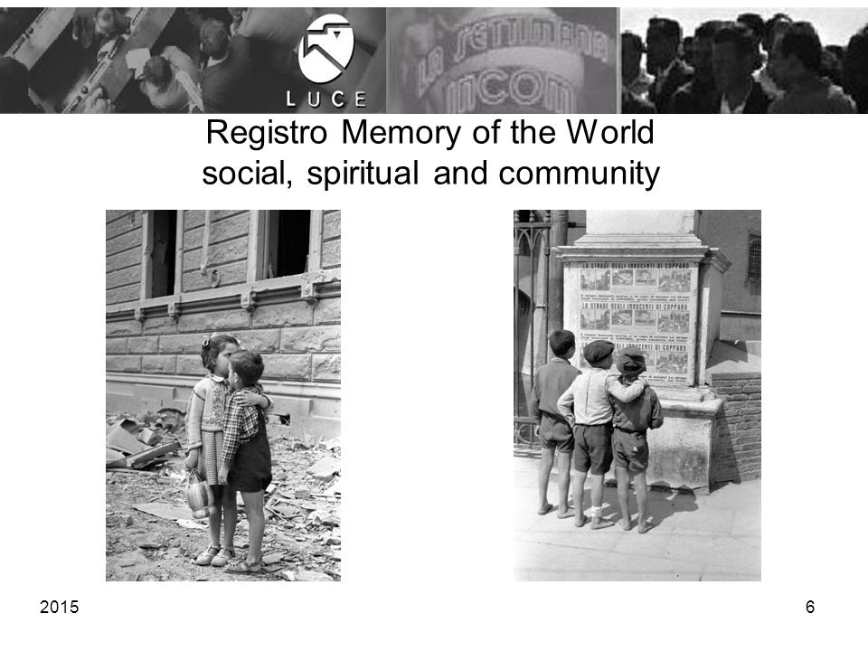 Registro Memory of the World social, spiritual and community 20156