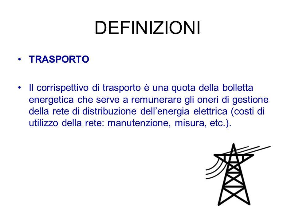 DEFINIZIONI TRASPORTO Il corrispettivo di trasporto è una quota della bolletta energetica che serve a remunerare gli oneri di gestione della rete di d