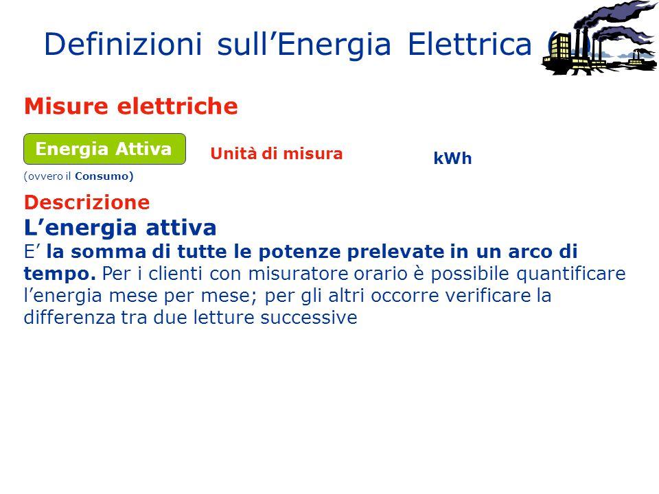 Definizioni sull'Energia Elettrica (1) Misure elettriche Descrizione Unità di misura Energia Attiva L'energia attiva E' la somma di tutte le potenze p