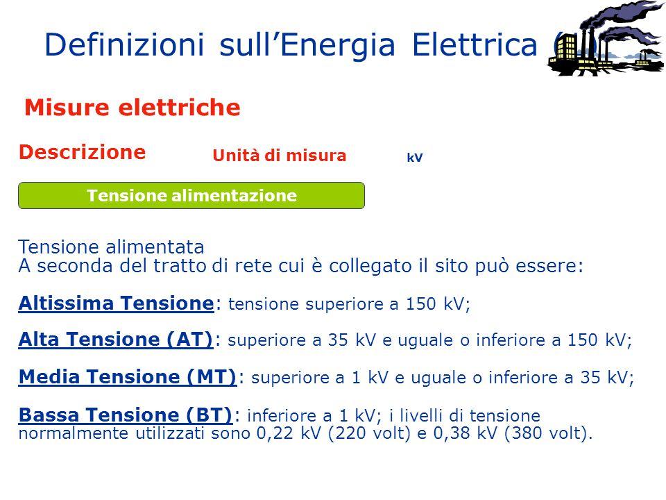 Definizioni sull'Energia Elettrica (1) Misure elettriche Descrizione Unità di misura Tensione alimentazione kV Tensione alimentata A seconda del tratt