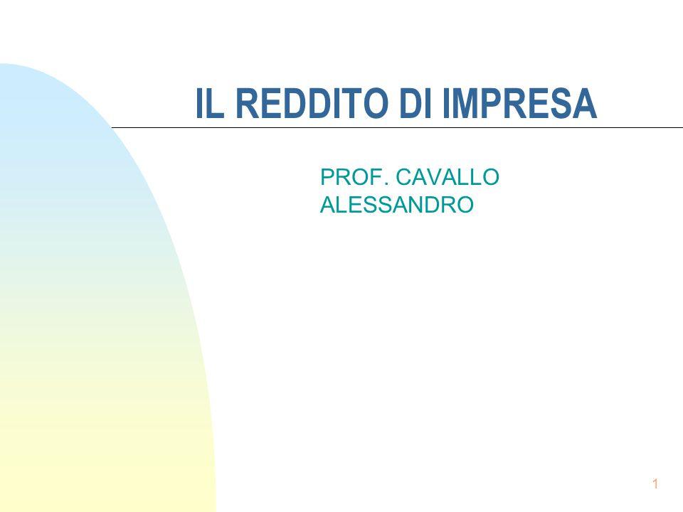 1 IL REDDITO DI IMPRESA PROF. CAVALLO ALESSANDRO
