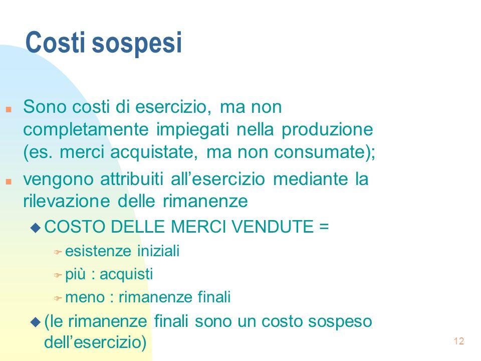 12 Costi sospesi n Sono costi di esercizio, ma non completamente impiegati nella produzione (es.