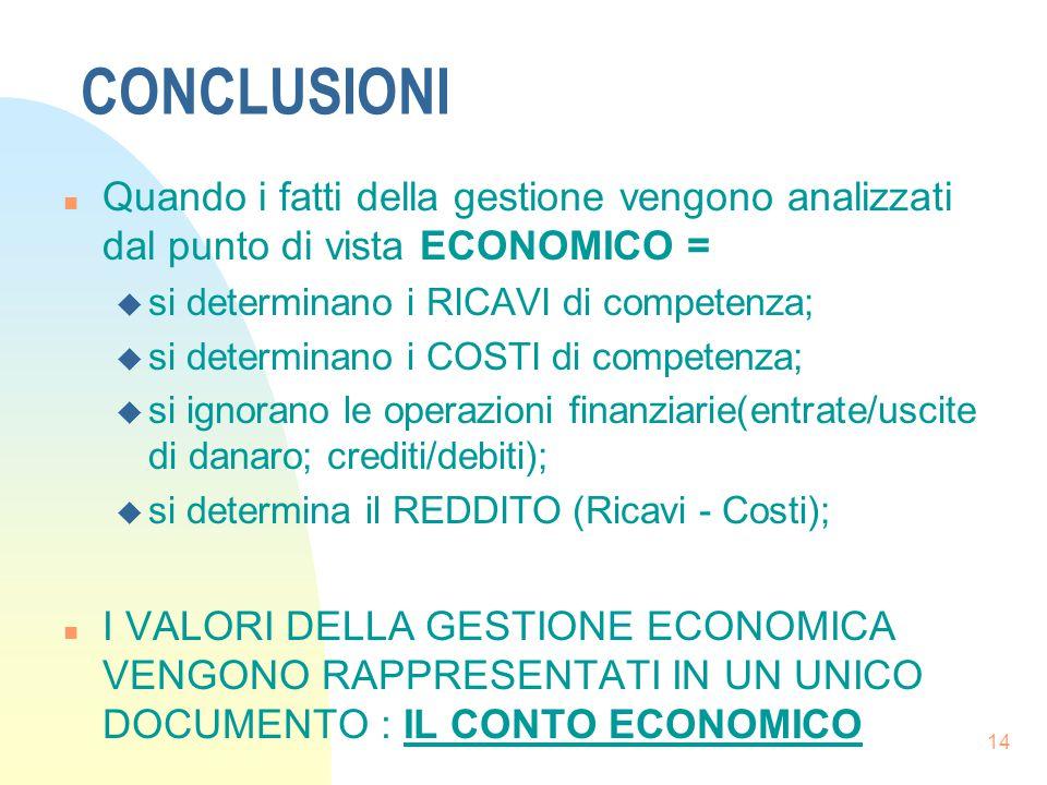 14 CONCLUSIONI n Quando i fatti della gestione vengono analizzati dal punto di vista ECONOMICO = u si determinano i RICAVI di competenza; u si determinano i COSTI di competenza; u si ignorano le operazioni finanziarie(entrate/uscite di danaro; crediti/debiti); u si determina il REDDITO (Ricavi - Costi); n I VALORI DELLA GESTIONE ECONOMICA VENGONO RAPPRESENTATI IN UN UNICO DOCUMENTO : IL CONTO ECONOMICO
