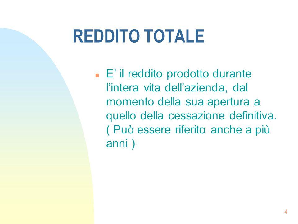 4 REDDITO TOTALE n E' il reddito prodotto durante l'intera vita dell'azienda, dal momento della sua apertura a quello della cessazione definitiva. ( P