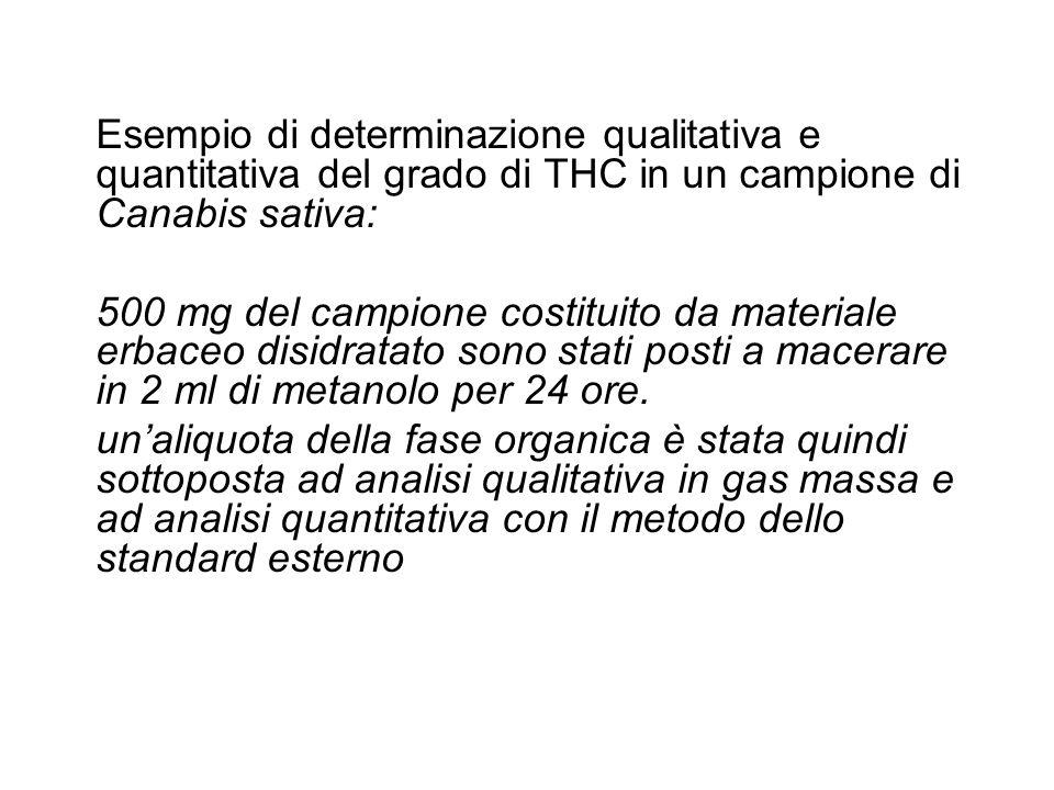 Esempio di determinazione qualitativa e quantitativa del grado di THC in un campione di Canabis sativa: 500 mg del campione costituito da materiale er