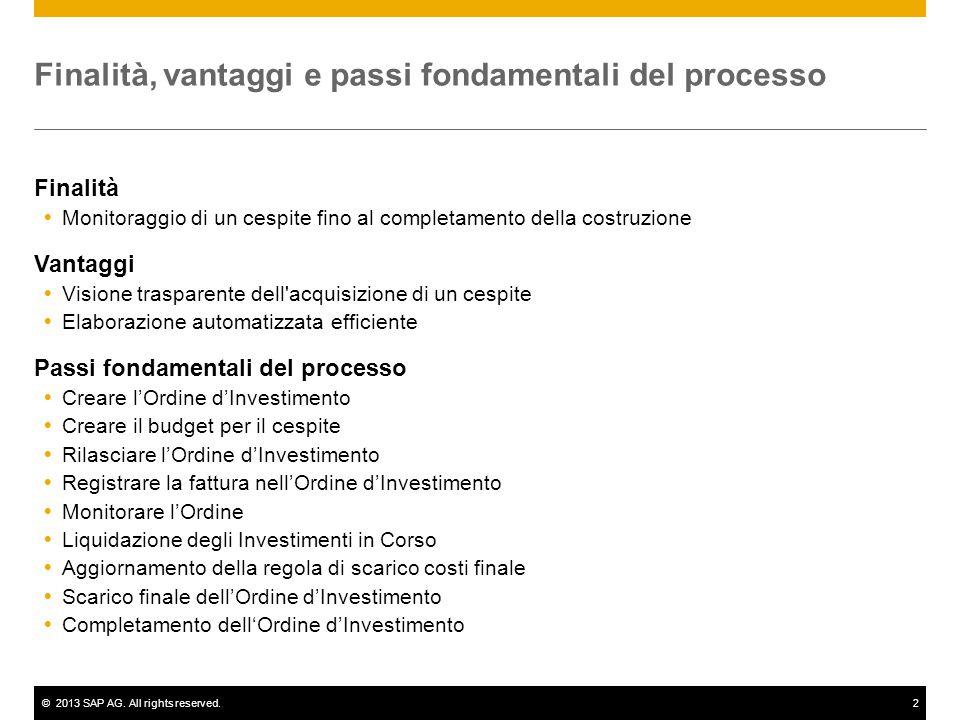 ©2013 SAP AG. All rights reserved.2 Finalità, vantaggi e passi fondamentali del processo Finalità  Monitoraggio di un cespite fino al completamento d