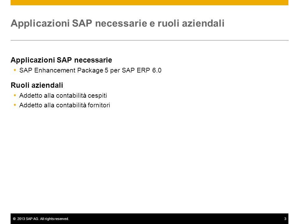 ©2013 SAP AG. All rights reserved.3 Applicazioni SAP necessarie e ruoli aziendali Applicazioni SAP necessarie  SAP Enhancement Package 5 per SAP ERP