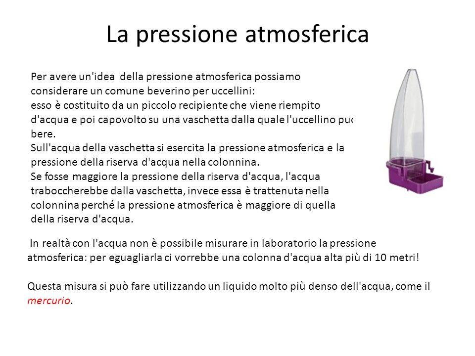 La pressione atmosferica Per avere un'idea della pressione atmosferica possiamo considerare un comune beverino per uccellini: esso è costituito da un