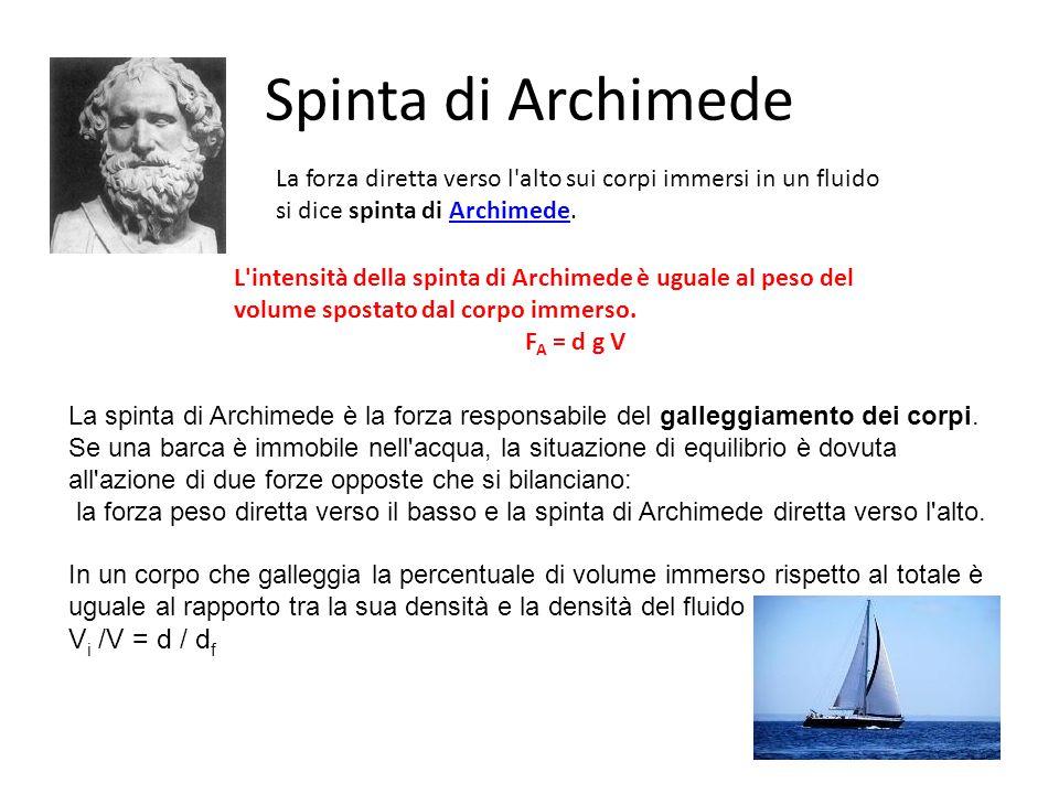 La forza diretta verso l'alto sui corpi immersi in un fluido si dice spinta di Archimede.Archimede Spinta di Archimede L'intensità della spinta di Arc