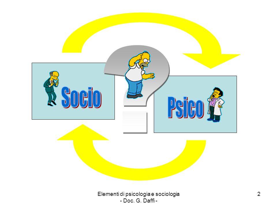 Elementi di psicologia e sociologia - Doc. G. Daffi - 2