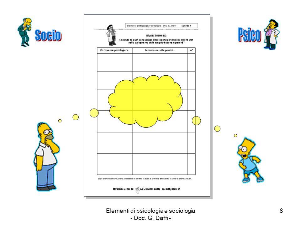 Elementi di psicologia e sociologia - Doc. G. Daffi - 8