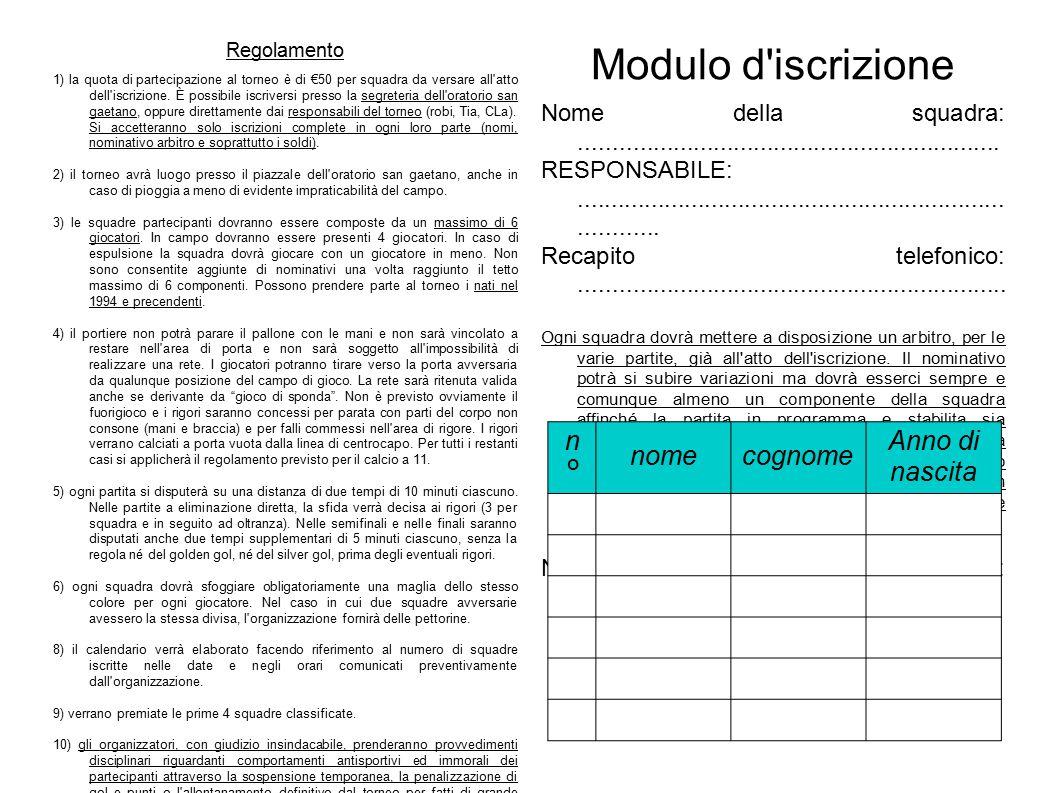 Regolamento 1) la quota di partecipazione al torneo è di €50 per squadra da versare all atto dell iscrizione.