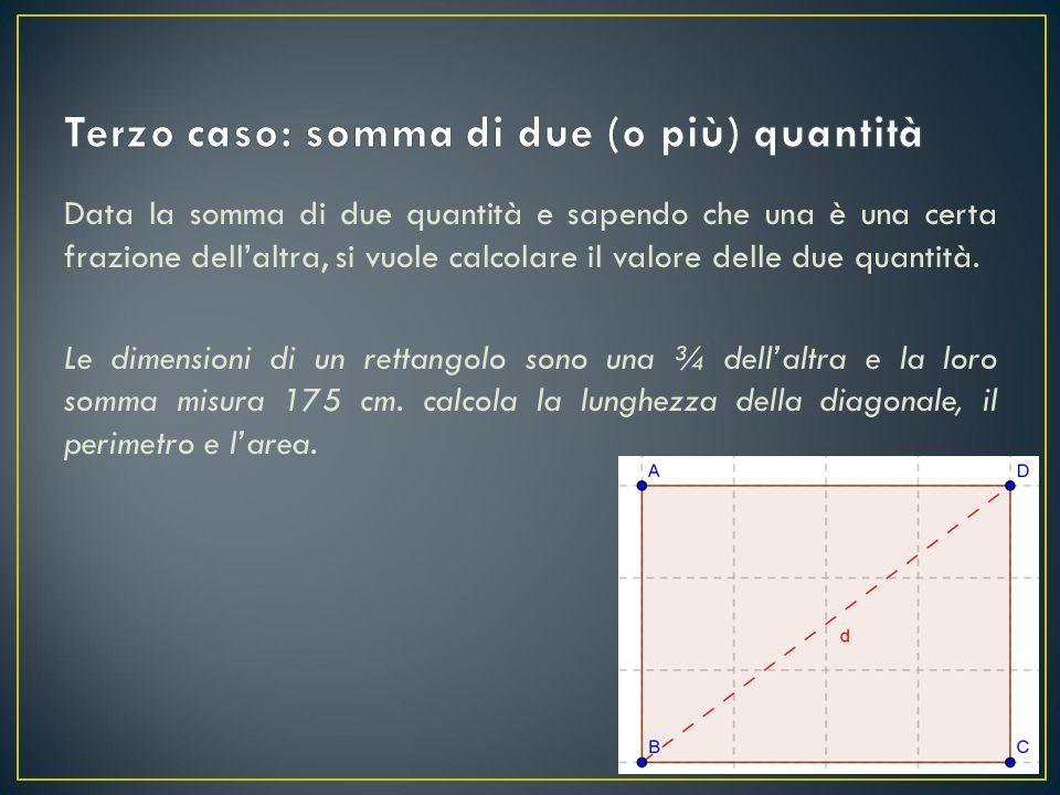 Data la somma di due quantità e sapendo che una è una certa frazione dell'altra, si vuole calcolare il valore delle due quantità. Le dimensioni di un