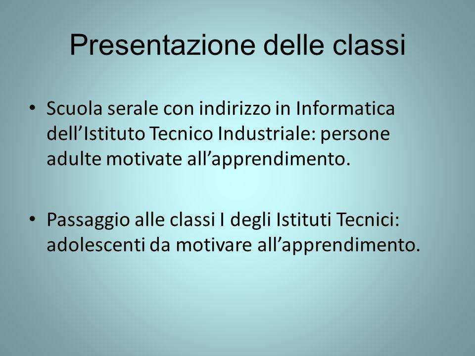 Presentazione delle classi Scuola serale con indirizzo in Informatica dell'Istituto Tecnico Industriale: persone adulte motivate all'apprendimento.