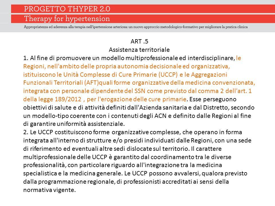 ART.5 Assistenza territoriale 1. Al fine di promuovere un modello multiprofessionale ed interdisciplinare, le Regioni, nell'ambito delle propria auton