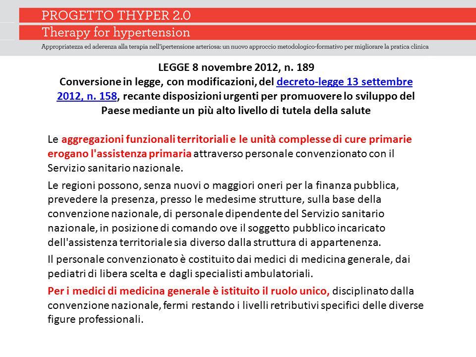 LEGGE 8 novembre 2012, n. 189 Conversione in legge, con modificazioni, del decreto-legge 13 settembre 2012, n. 158, recante disposizioni urgenti per p