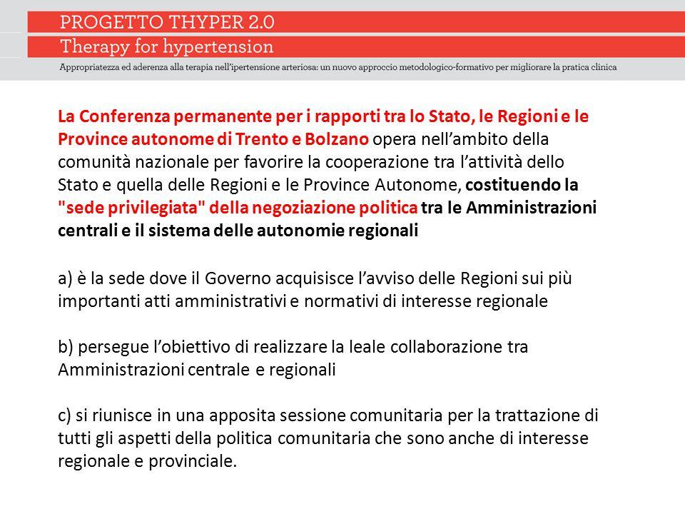 La Conferenza permanente per i rapporti tra lo Stato, le Regioni e le Province autonome di Trento e Bolzano opera nell'ambito della comunità nazionale