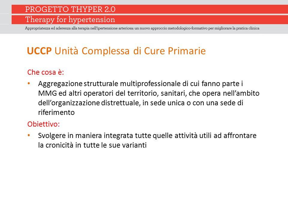 UCCP Unità Complessa di Cure Primarie Che cosa è: Aggregazione strutturale multiprofessionale di cui fanno parte i MMG ed altri operatori del territor